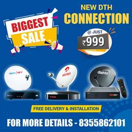 High Definition set top box new connection of Tata Sky, Airtel, DishTV