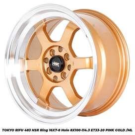 jual velg murah TOKYO RIFU 483 HSR R16X7/8 H8X100-114,3 ET33/20 PINK G