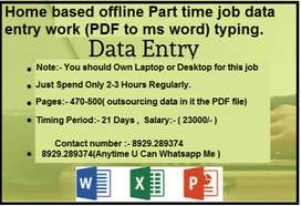 Data Entry Operator Job at home basis in simple English typing