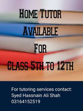Well experienced tutors avaliable at your door step