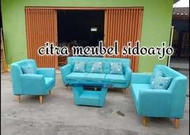 Sofa retro minimalis warna marine