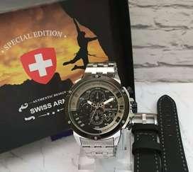 jam tangan swiss army silver 3 chrono on elegant dan gahar