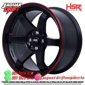 Velg Mobil Celong Ring 17x75/9 Hsrwheel Tokyo Oshu H8x100-114,3 Hitam