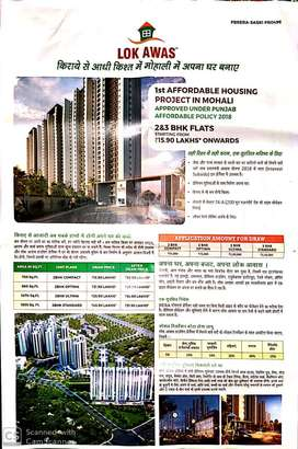 2 BHK FLAT ONLY IN 15.90 AT 74 SEC.A,MOHALI AIRPORT ROAD,HURRY UP