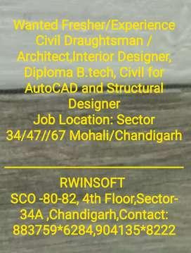 Wanted Civil Draughtsman,Interior Designer, AutoCAD,Architect