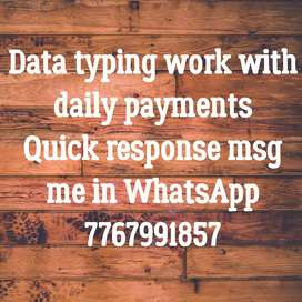 Opportunity in typing work with daily payment
