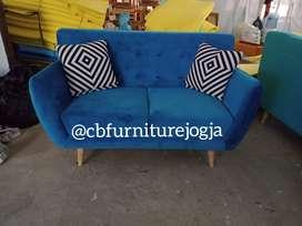 sofa scandinavian 2 seater , hrg murah