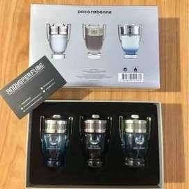 Paco Rabbane invictus gift set parfum travel 3in1