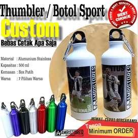 botol sport thumbler stainless sablon custom sesuka kamu