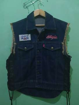 Jaket vest denim ninja leather