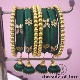 Silk Thread bangles with hangings