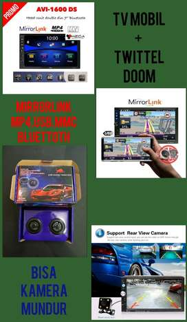 Paket Tv Mobil + Twittel Doom Mirror Link (Mp5.Usb.Mmc.Aux.Bluettoth)
