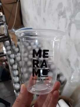 Sablon gelas plastik plus logo CUP PP OVAL 12oz 8gram
