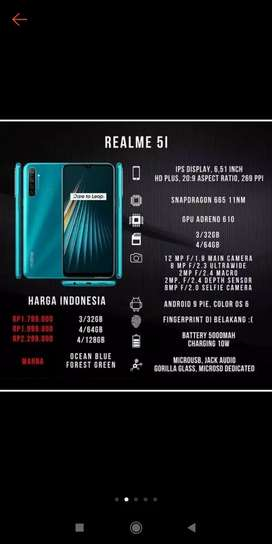 Realme 5i 4/64 biru & hijau