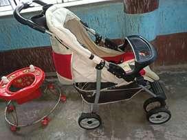 Baby perambulator and walker
