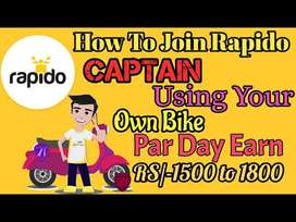 No charges applicable for this vacancy Rapido bike taxi company
