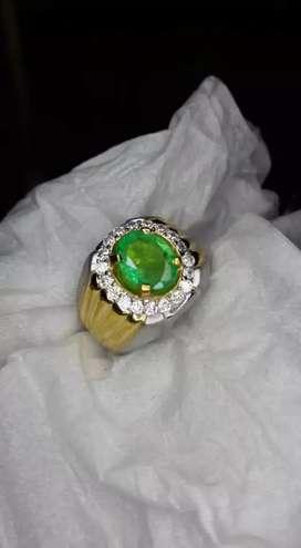Natural Emerald Berryl Perak Chrome