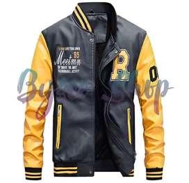 Jaket Kulit Asli Baseball Style Slim Fit - Yellow M