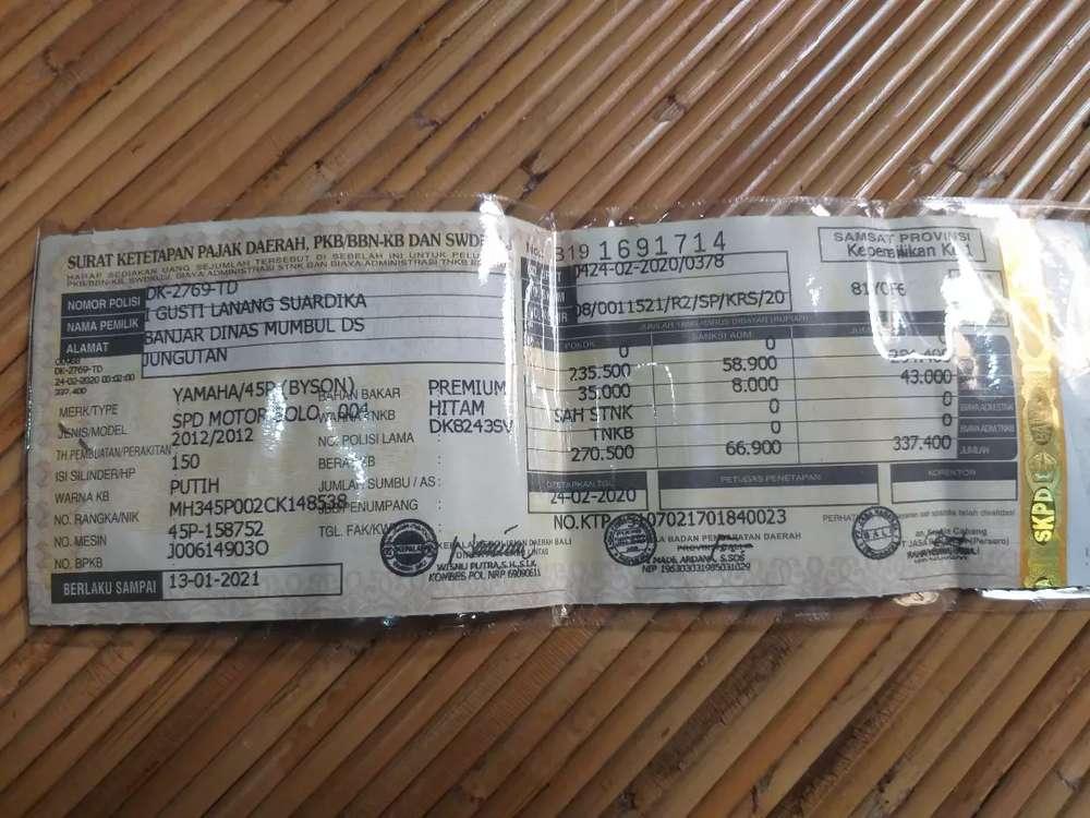 Byson Putih Plat DK di Jogja tahun 2012 pajak tertib berlaku smp 2023