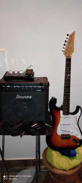 Electric guitar; ibanez amp, unused vox pedal, noiseless cables