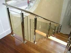 Ralling tangga standlist kaca mewah