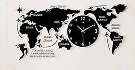 World map with clock 3d cnc cuting