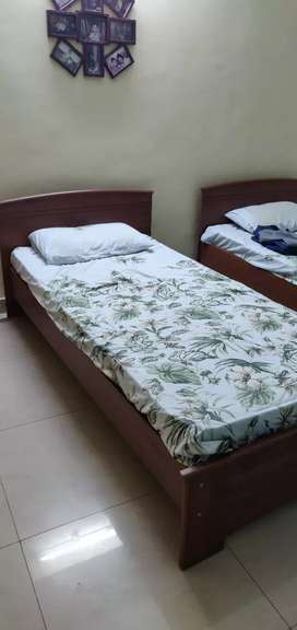 Two single beds with spring mattress