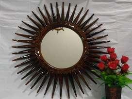 Cermin model landak dr kayu jati