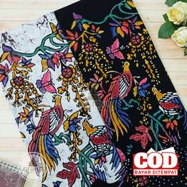 Kain Batik Tulis Asli Katun Halus Bahan Batik Bakaran Pola Merak