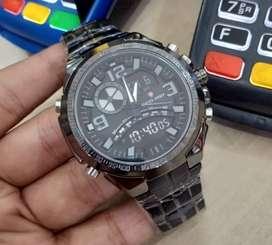 Jam tangan swiss army analog digital fitur lengkap full black color