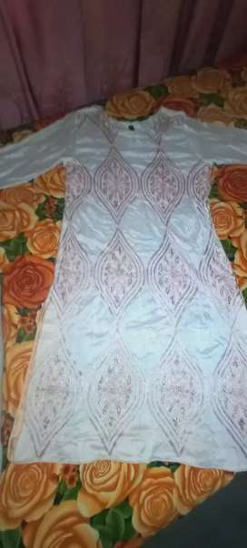 White and peach  embroided  kurti
