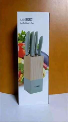 Original KRISCHEF Knife Block Set 5 Pisau Full Stainless Steel 30% Off