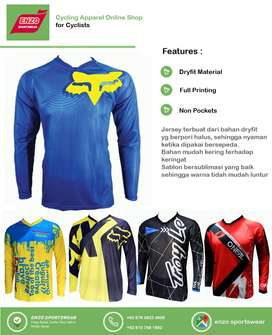 COD - Jersey Sepeda DH Fox Blue Yellow LS