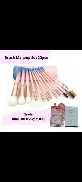 Brush Makeup 12pcs lembut kuas makeup set free clay mask dan blush on