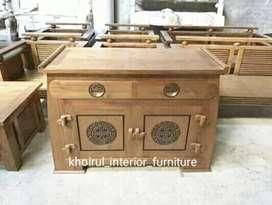 Meja tv motif ukiran ethnic material kayu jati.