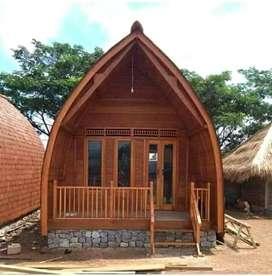 Rumah bunglow ukuran 4x6m kayu jati