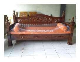 bale bale jati / daybed kayu ukir minimalis jepara kf-4667