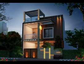 3bhk duplex plot size 1300 sq feet