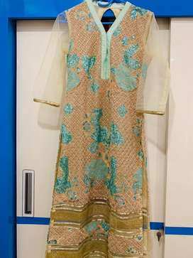 Sea green and peach coloured heavy dress - USED ONLY ONCE