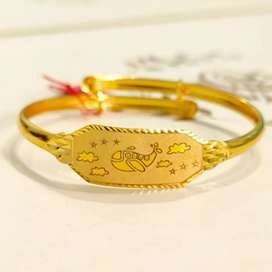 Gelang Anak Bangle Plat Papan Dolphin lovely Beautiful Fancy Emas asli