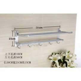 Rak Handuk Dinding Aluminium 2 Tingkat