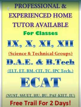 Lady Home Tutors Required For Home Tuitions in KPK.