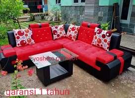 Yoshiko perabot - sofa L cellini merah hitam