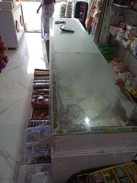 Long wood and glass counter