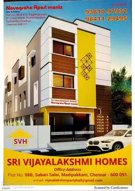 INDIVIDUAL ROW HOUSE WITH SEPARATE TERRACE  FOR SALE @ S KOLATHUR