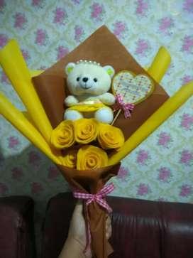 Buket bunga flanel mawar Custom
