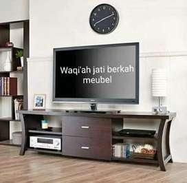 Bufet tv minimalis mewah, P. 150cm, bahan kayu jati tua asli 100%
