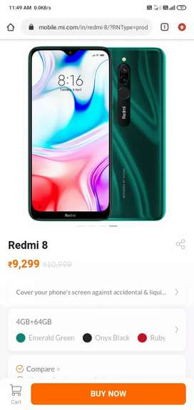 Redmi 8 green colour  4 64 with two extra cover