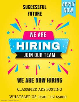 We are hiring students for classified ads posting jobs