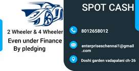 Spot cash for car and bike even under finance loan by Pledging